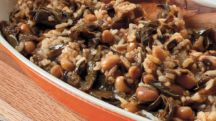 African take on hoppin john with black eyed peas, collards and rice